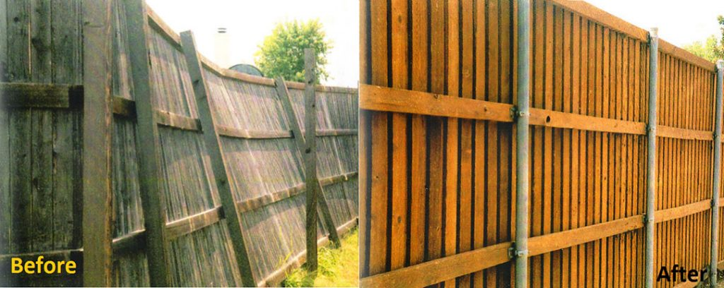 Fence repair and maintenance before and after