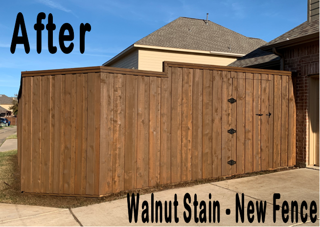 Customer New Fence Walnut Stain after Allen TX