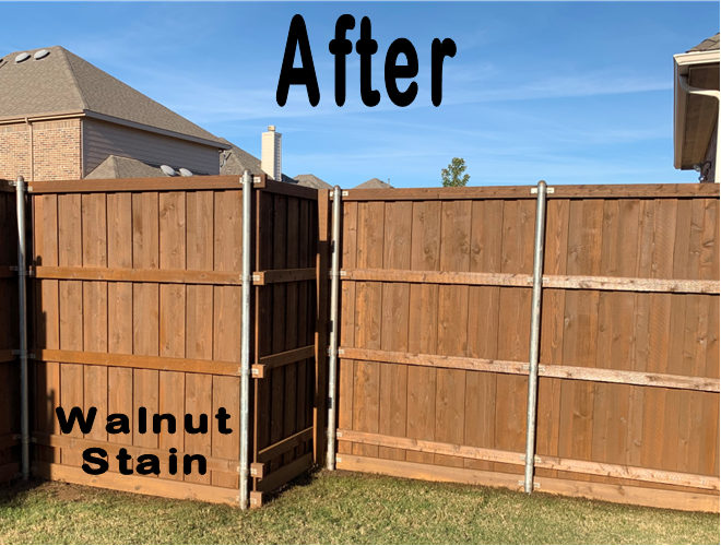 Customer New Fence Walnut Stain inside corner Allen TX