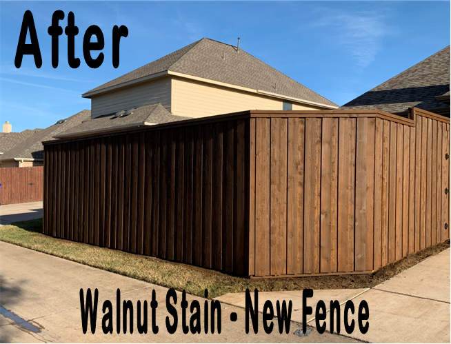 Customer New Fence Walnut stain after angle allen tx