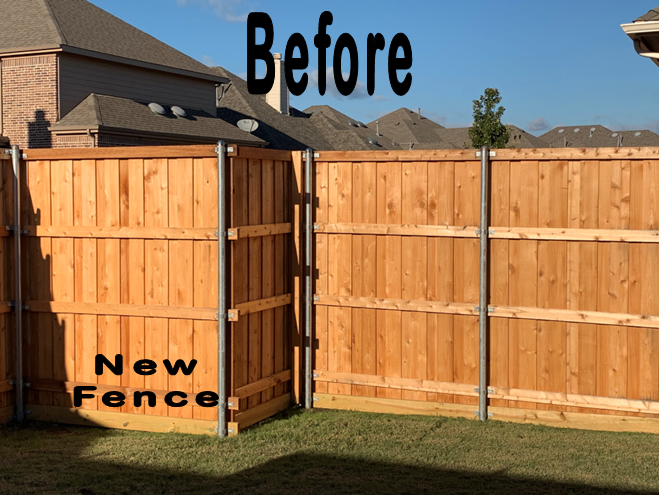 Customer New Fence before stain inside corner Allen TX